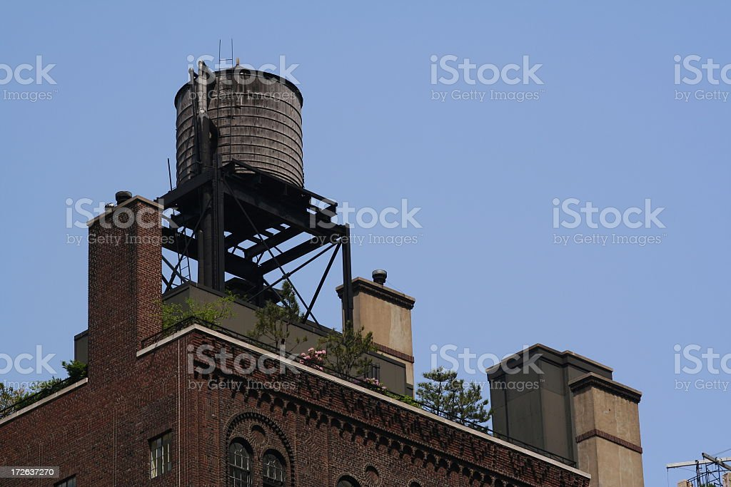 NYC Penthouse Garden with Watertank stock photo