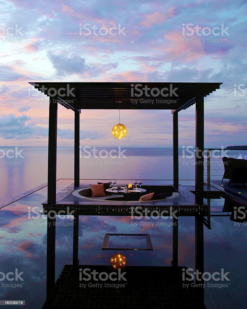 Penthouse Private Dining at Sunset stock photo