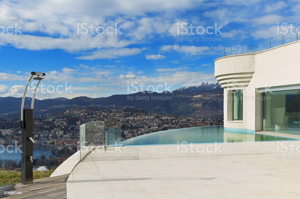 Penthouse with pool, exterior stock photo