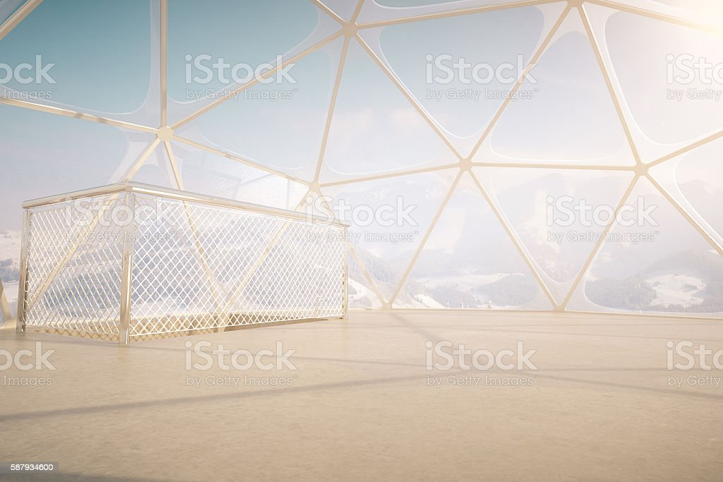 Penthouse with snowy mountains view stock photo