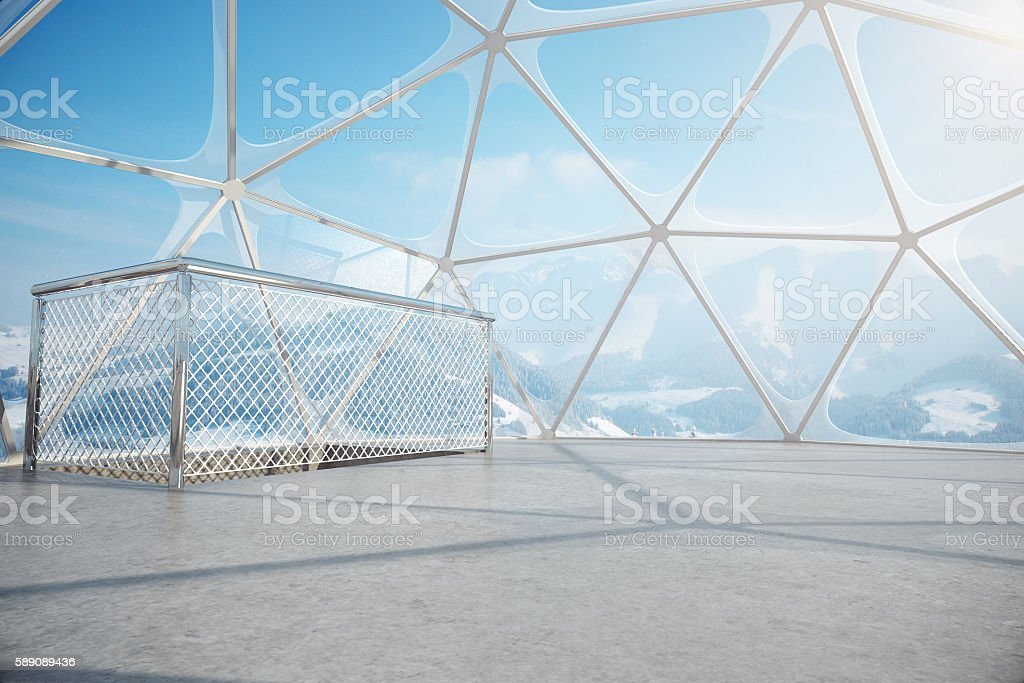 Penthouse with winter landscape view stock photo