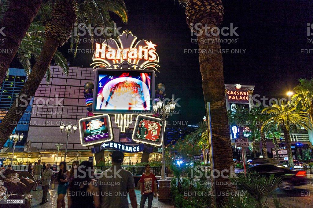 peolple at entrance of  Harrah`s casino l in Las Vegas stock photo