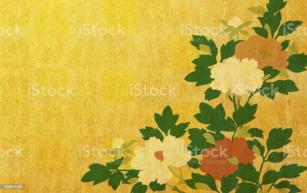 Peony on gold leaf background stock photo