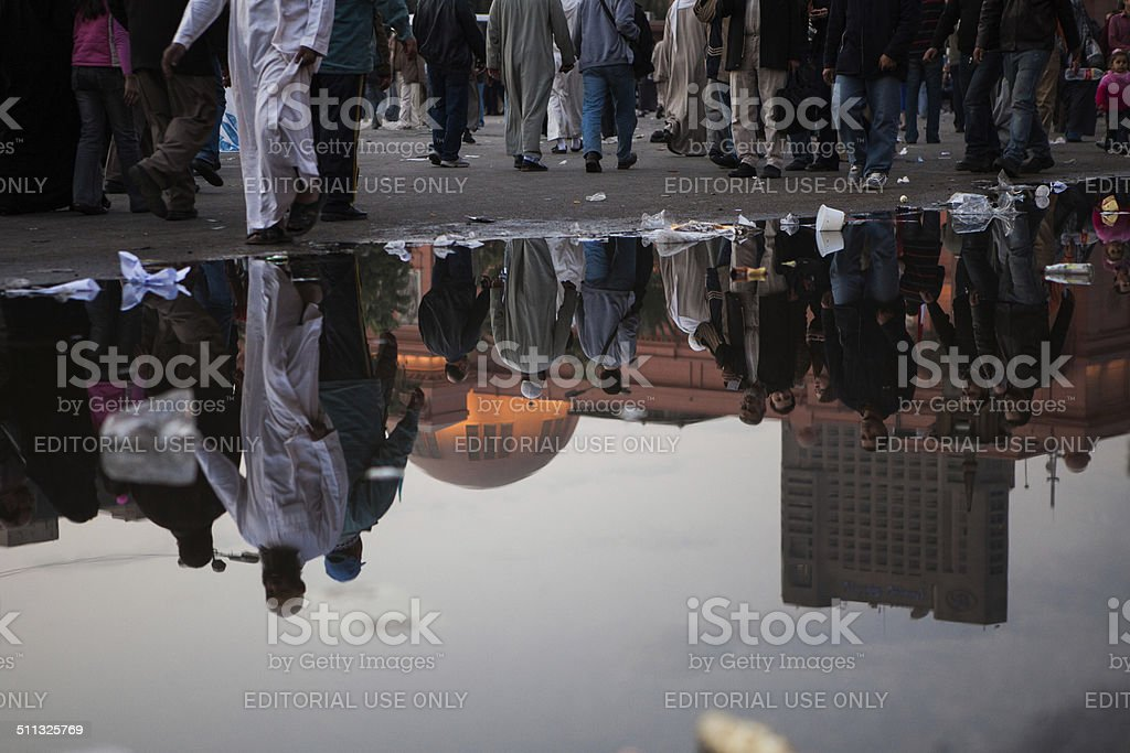 Peope are gathering on Tahrir II stock photo