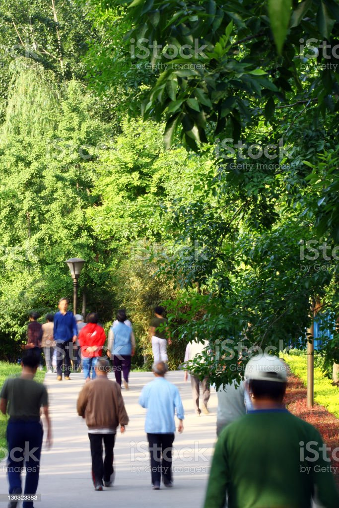 peopel jogging in the park royalty-free stock photo