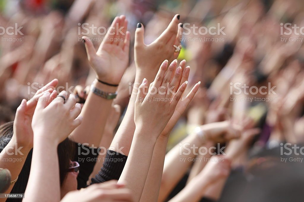 peope's hands on the music festival royalty-free stock photo