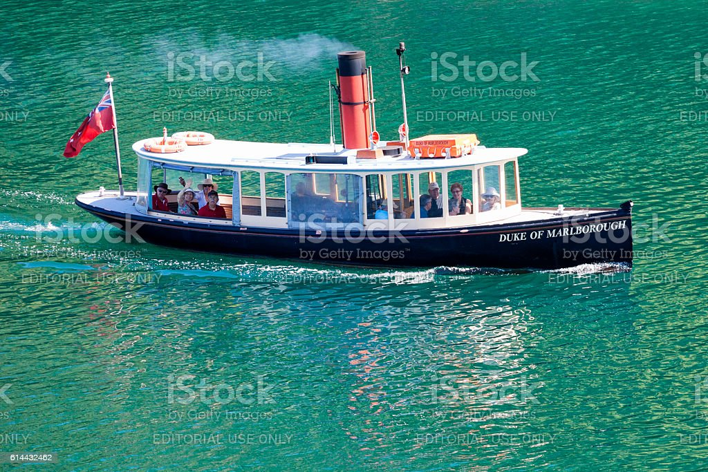People aboard steamboat on the Cook Strait in New Zealand stock photo