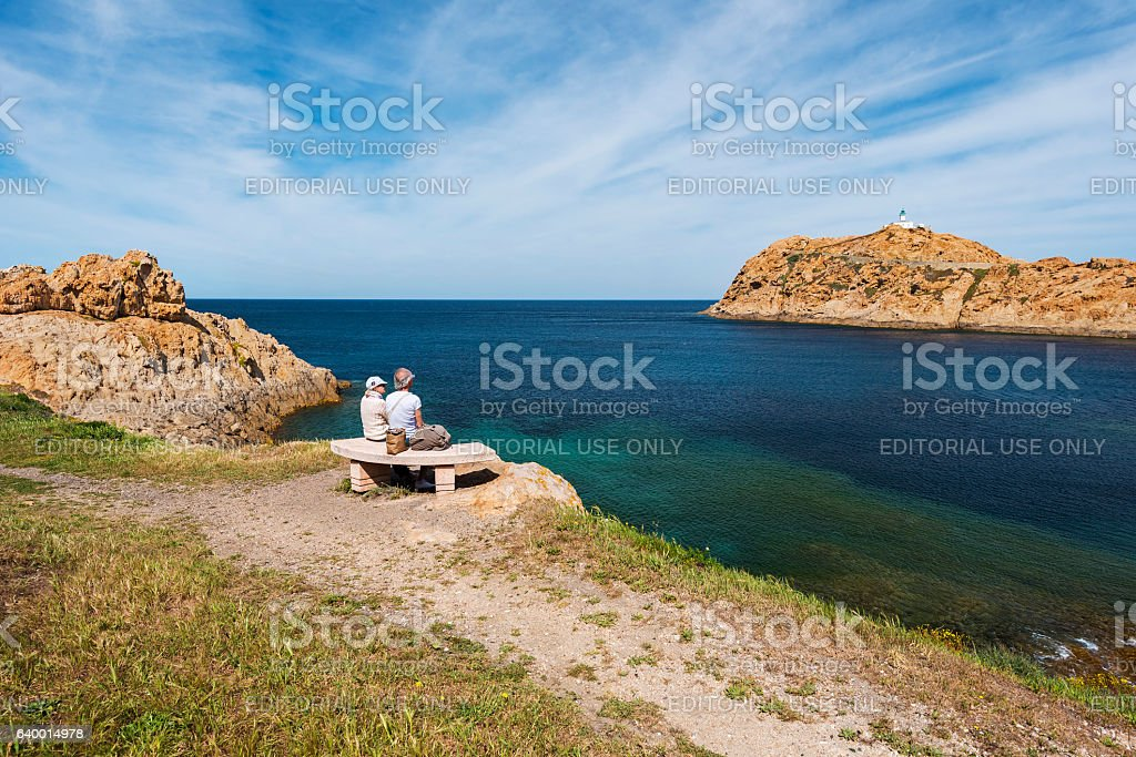 People admiring Pietra Islet landscape in Corsica stock photo