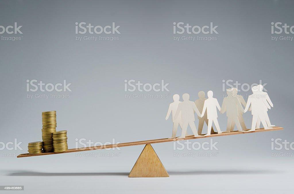 People against money stock photo