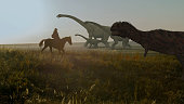 People and dinosaurs. Realistic animation. Landscape view. 3d rendering