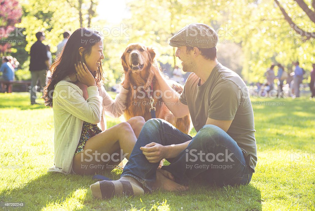 People and dog royalty-free stock photo