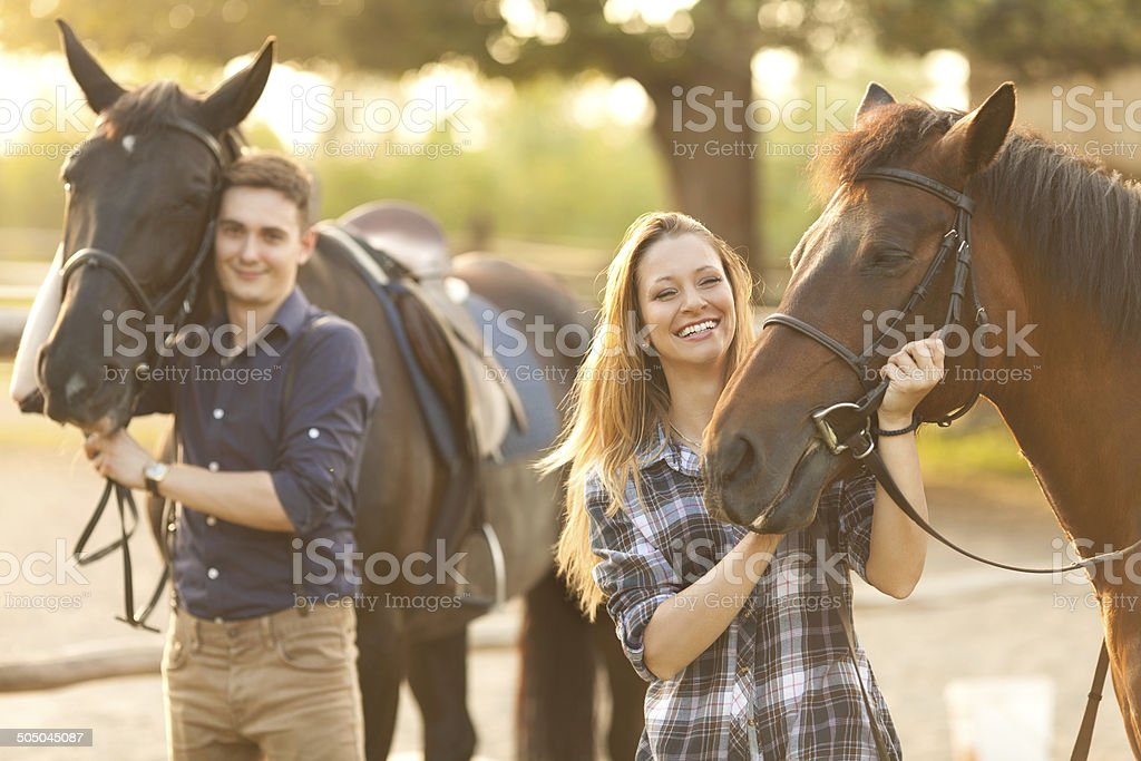 People and horses stock photo