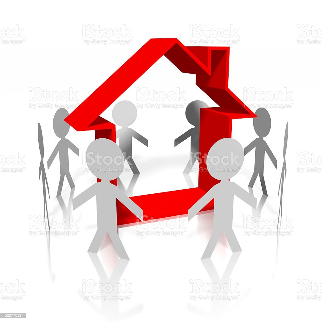 3D people and house concept stock photo