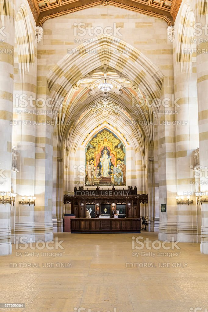 people and Interior of Yale University library stock photo