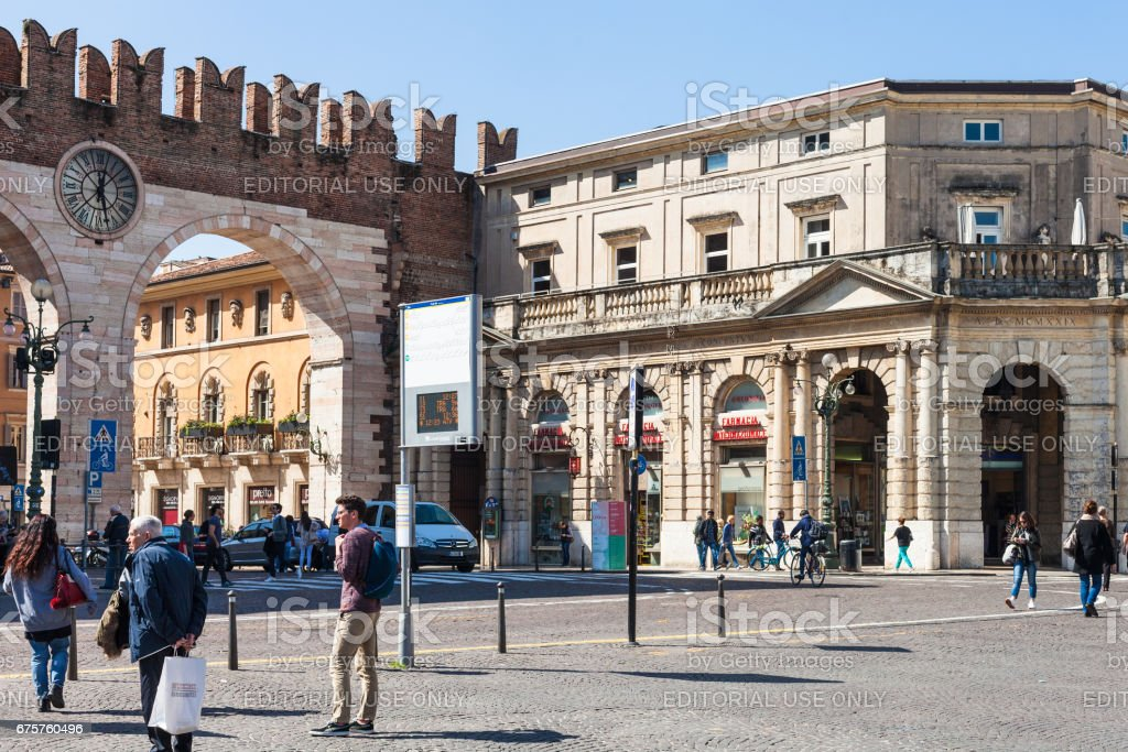 people and medieval Bra Gates in Verona stock photo