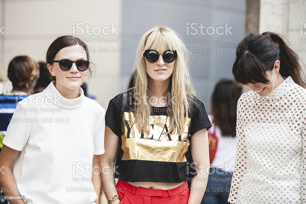People and models spotted New York Fashion Week 2014 stock photo