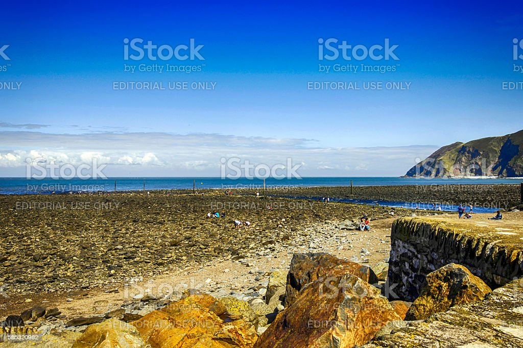 People and the Rocky of North Devon at Lynmouth, UK stock photo
