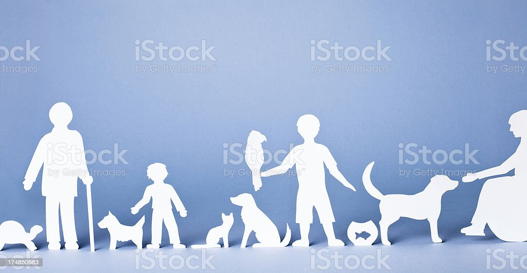 People and their animals - banner format, paper concept stock photo