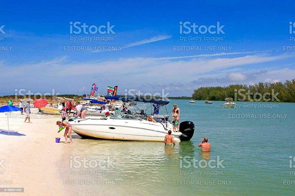 People and their boats around Keewaydin Island near Naples, Florida stock photo