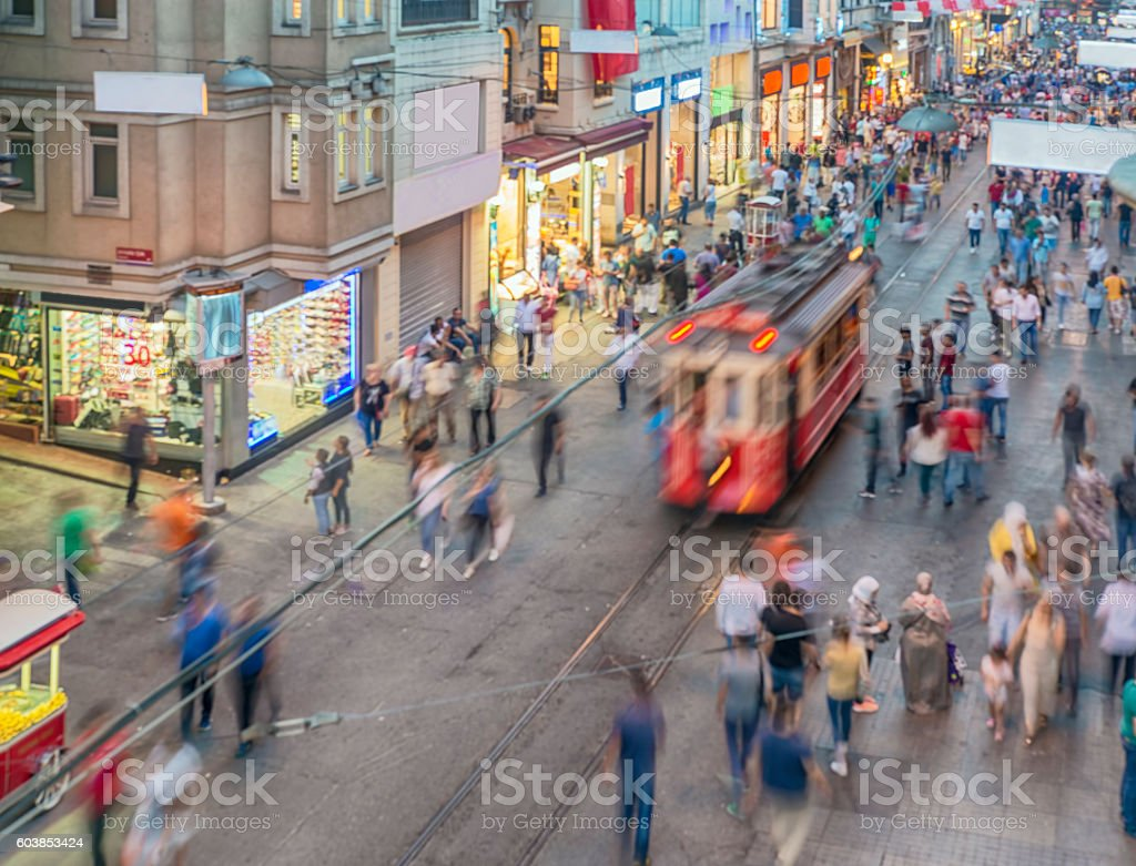 People and tram on the Istiklal Street stock photo