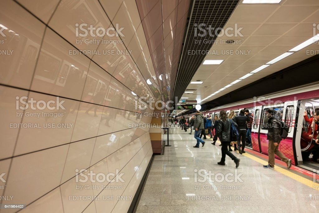 People Are Getting Out From The Subway Train stock photo