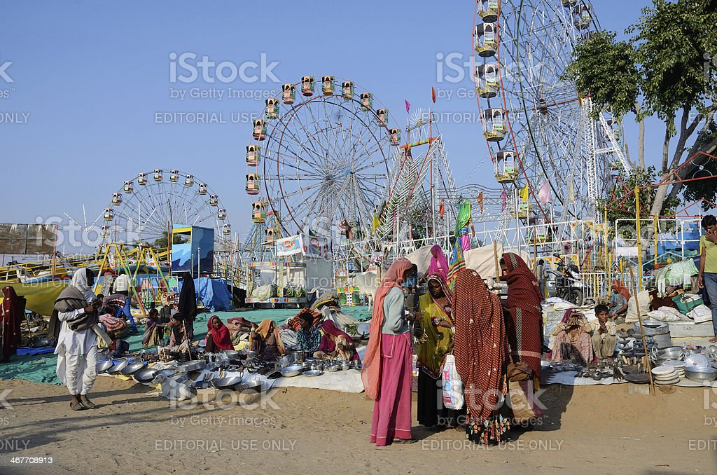People are selling goods at market square,Pushkar,India royalty-free stock photo