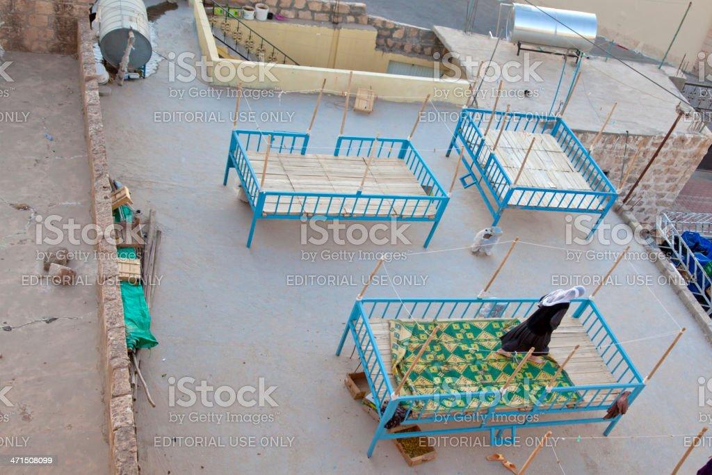 people are sleeping outside at midyat mardin turkey royalty-free stock photo