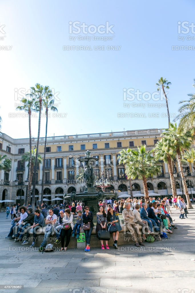 People are visiting famous  historical placa reial at barcelona spain stock photo