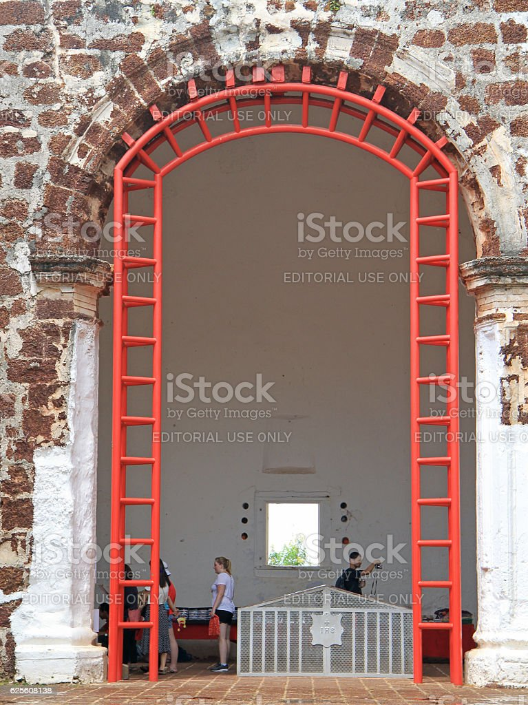 people are visiting St. Paul church in Malacca, Malaysia stock photo