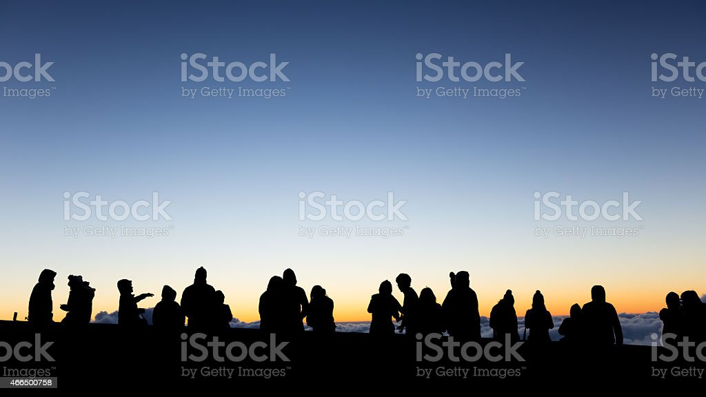 People are waiting for the sunrises. stock photo
