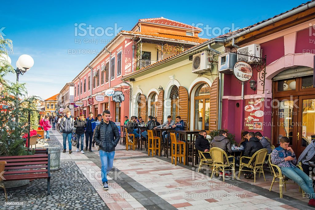 People are walking in colorful Shkoder streets in Albania stock photo