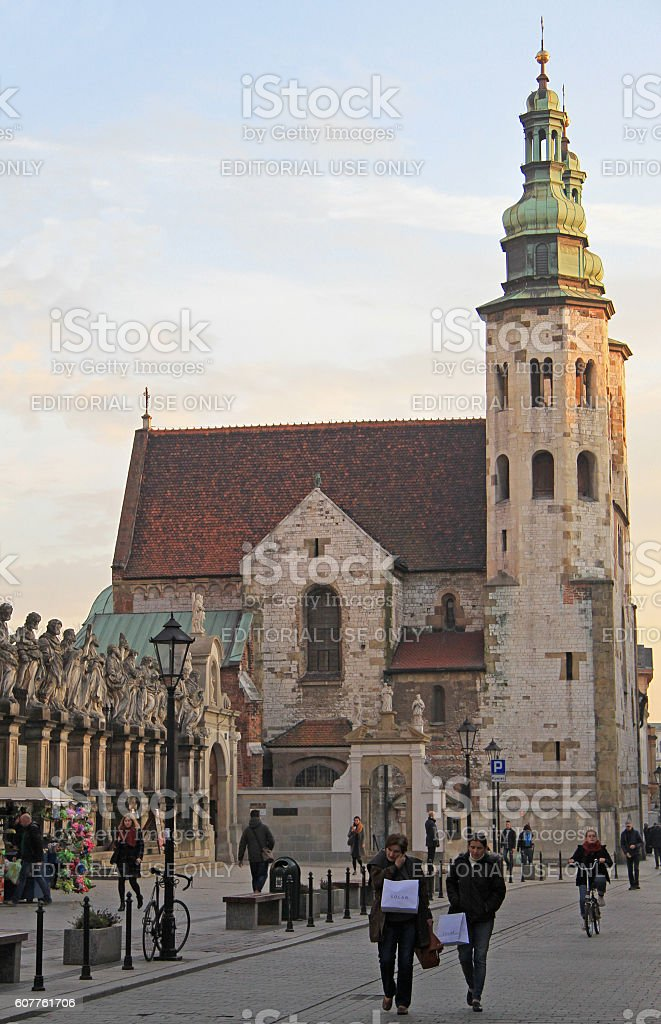 people are walking nearly st. Andrew church in Krakow, Poland stock photo