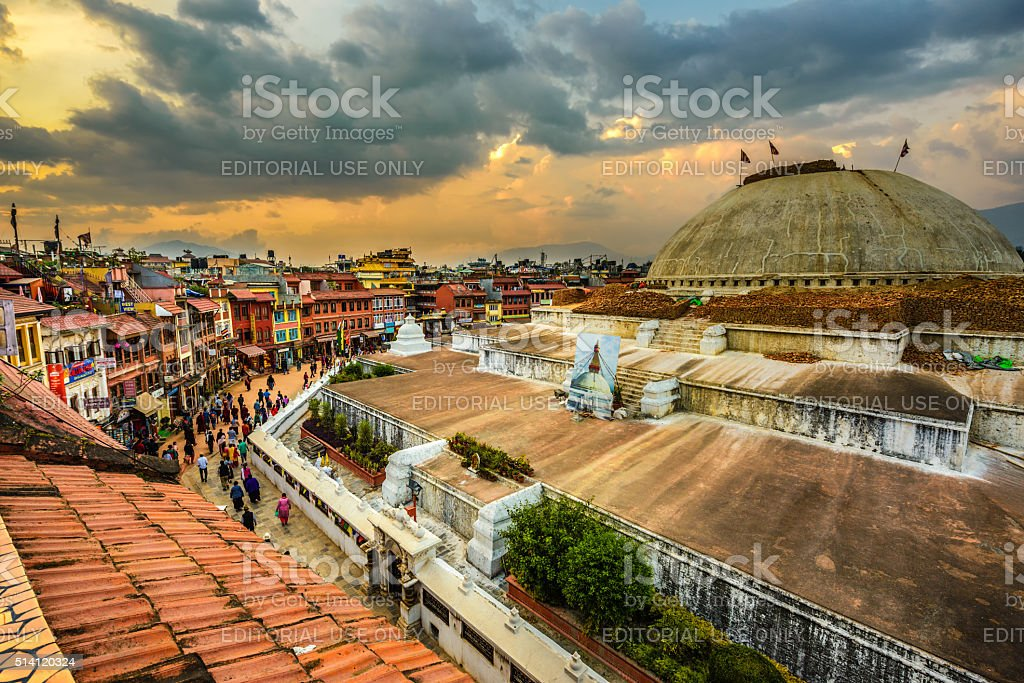 People around Boudhanath  Stupa in Kathmandu, Nepal stock photo