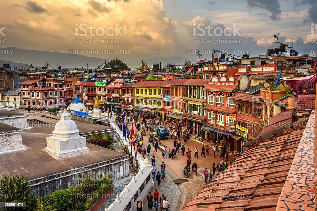 People around Boudhanath Stupa in Kathmandu stock photo