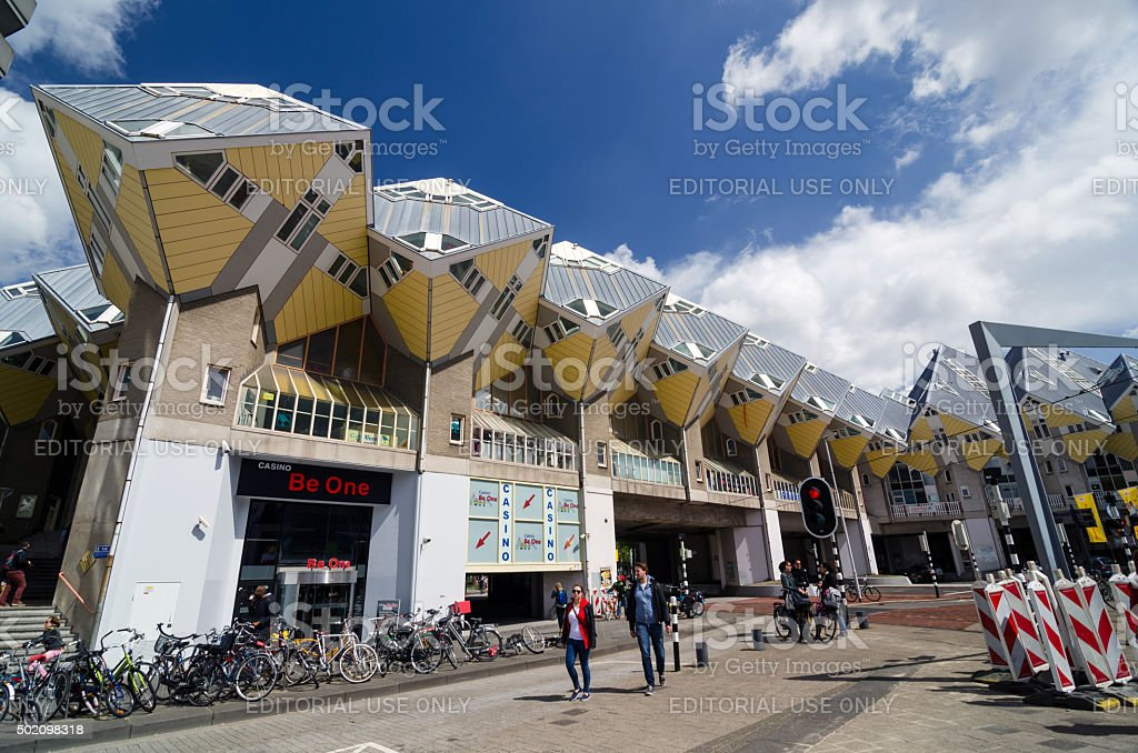 People around Cube Houses in Rotterdam. stock photo