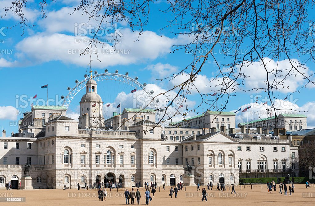 People around the Horse Guards Parade in London stock photo