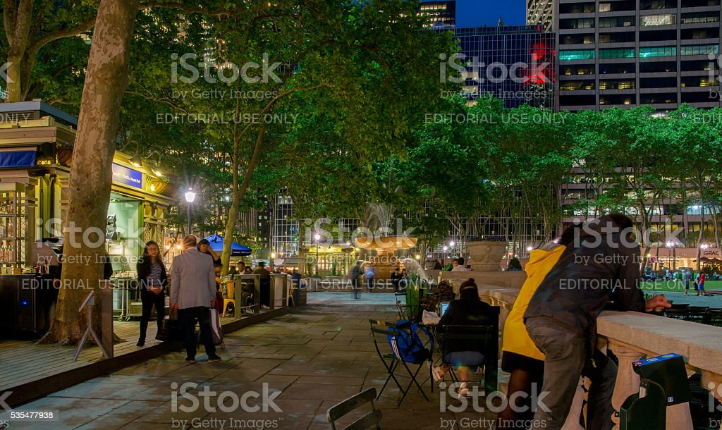 People around the Southwest Porch at Bryant Park New York stock photo