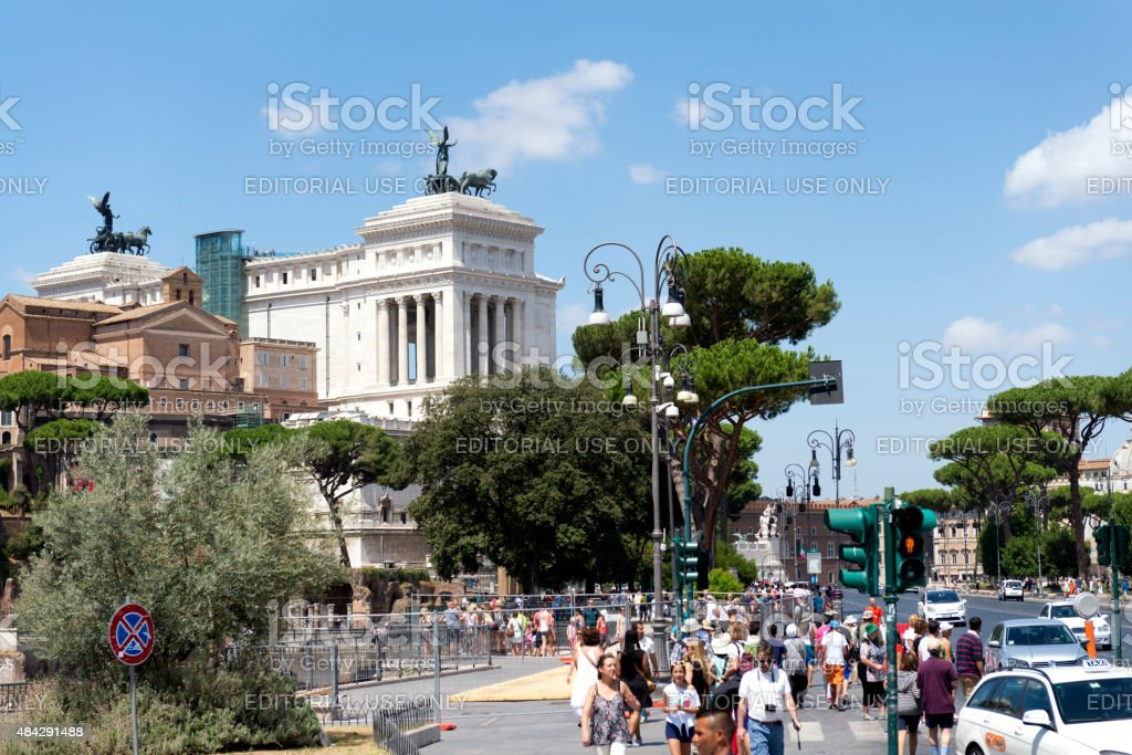People around Victor Emmanuel II Monument in Rome stock photo