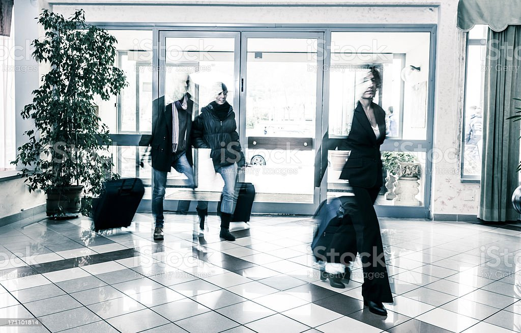 People arriving at the hotel royalty-free stock photo