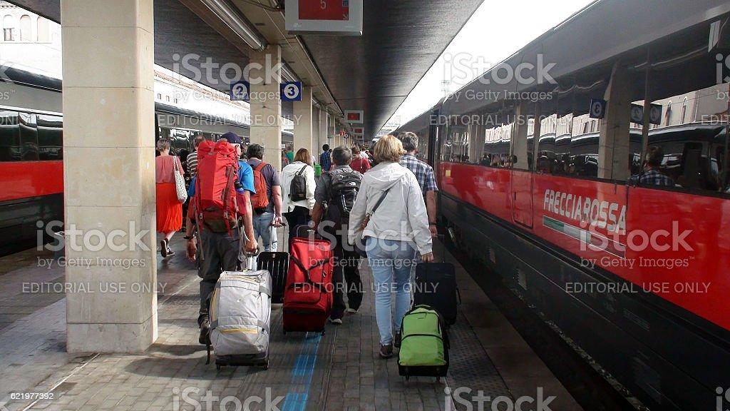 People Arriving At Venezia Santa Lucia Railway Station In Italy stock photo