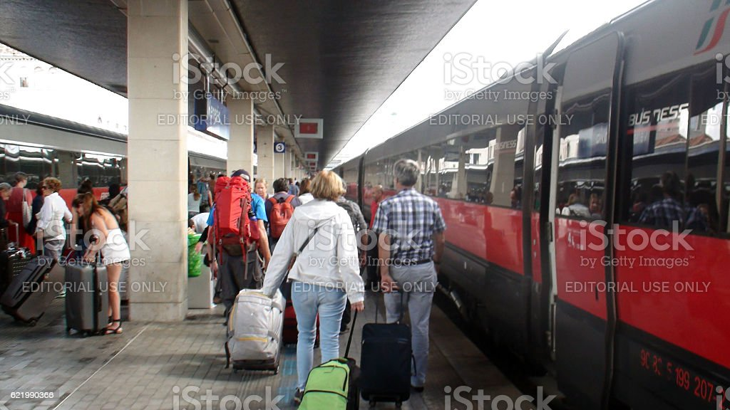 People Arriving At Venezia Santa Lucia Railway Station In Italy stock photo