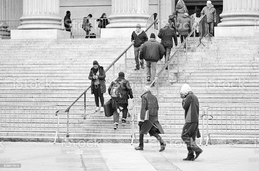People Arriving New York City Courthouse stock photo