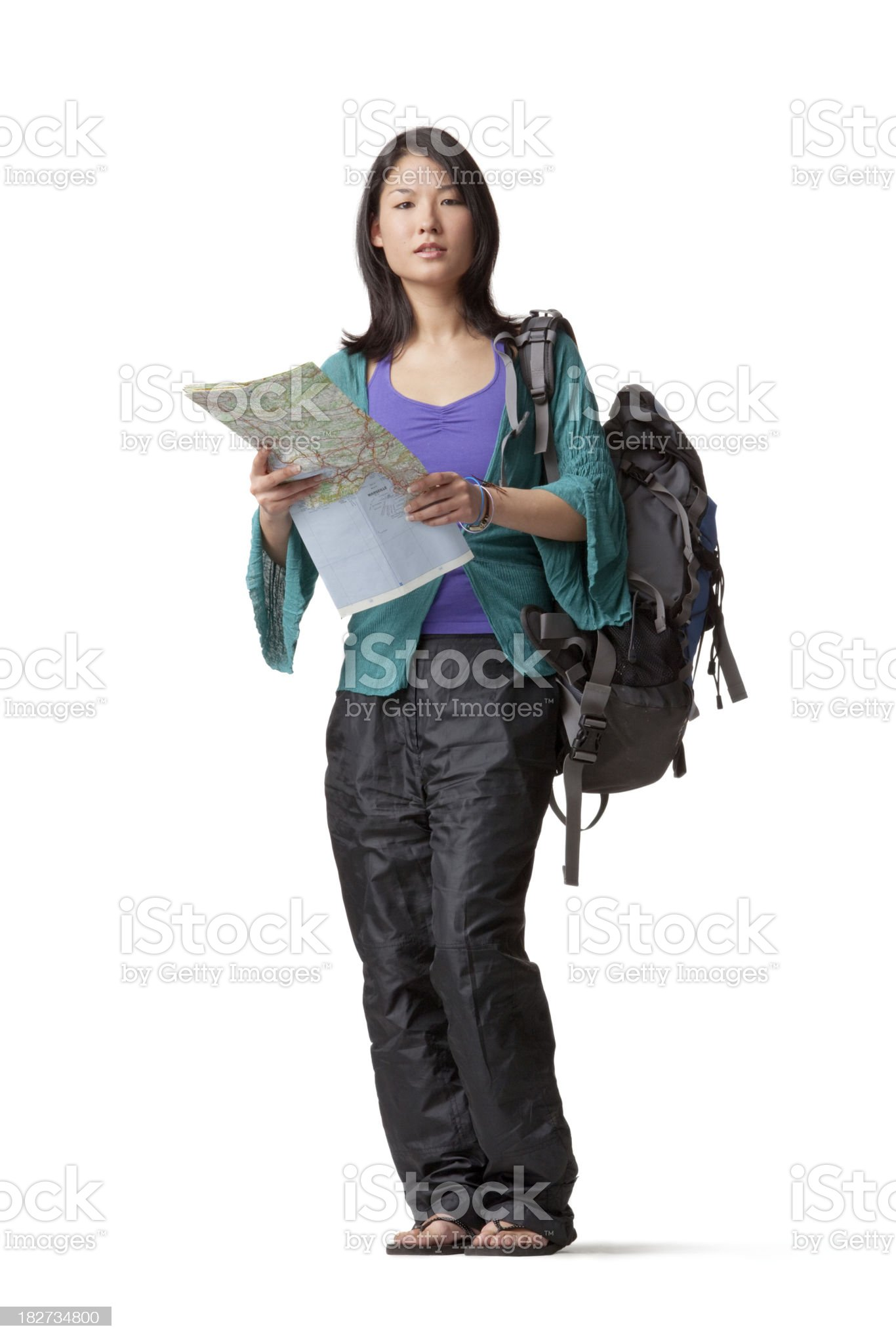 People: Asian Tourist with Map royalty-free stock photo