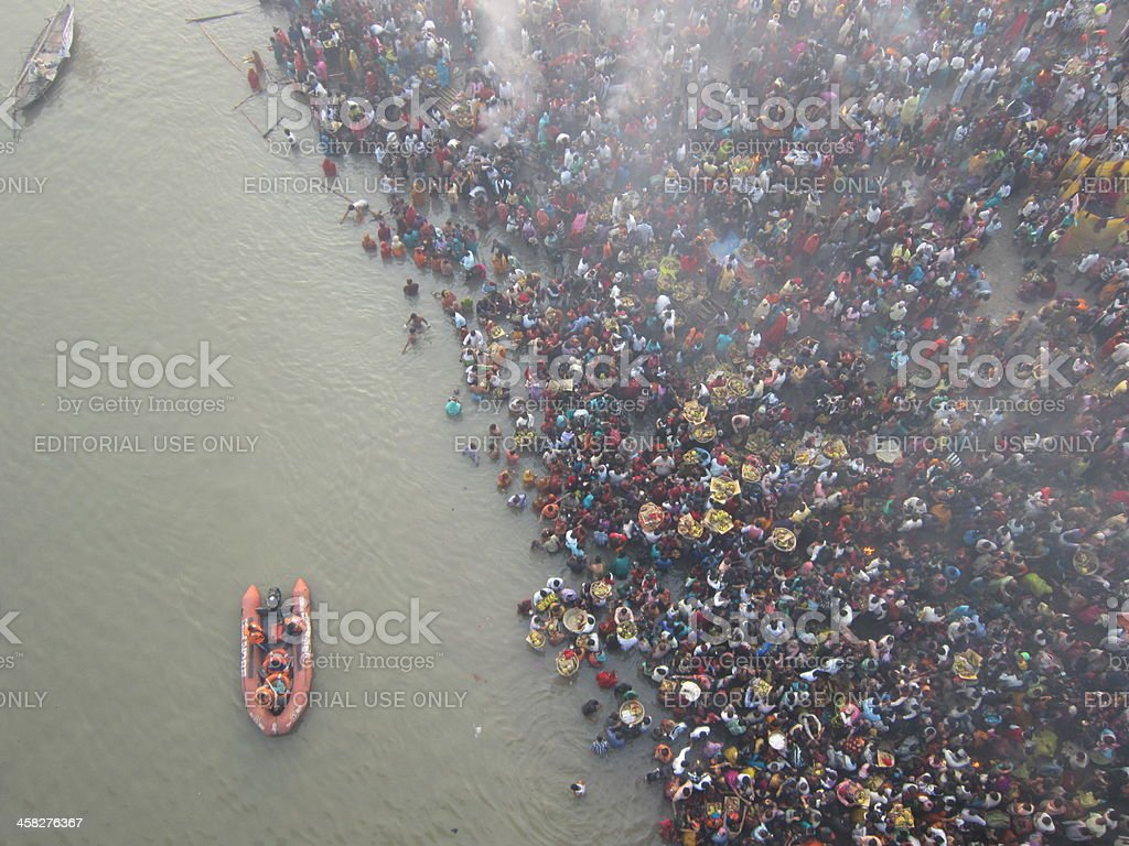 People assembled to perform Chhath on bank of river Ganges. stock photo