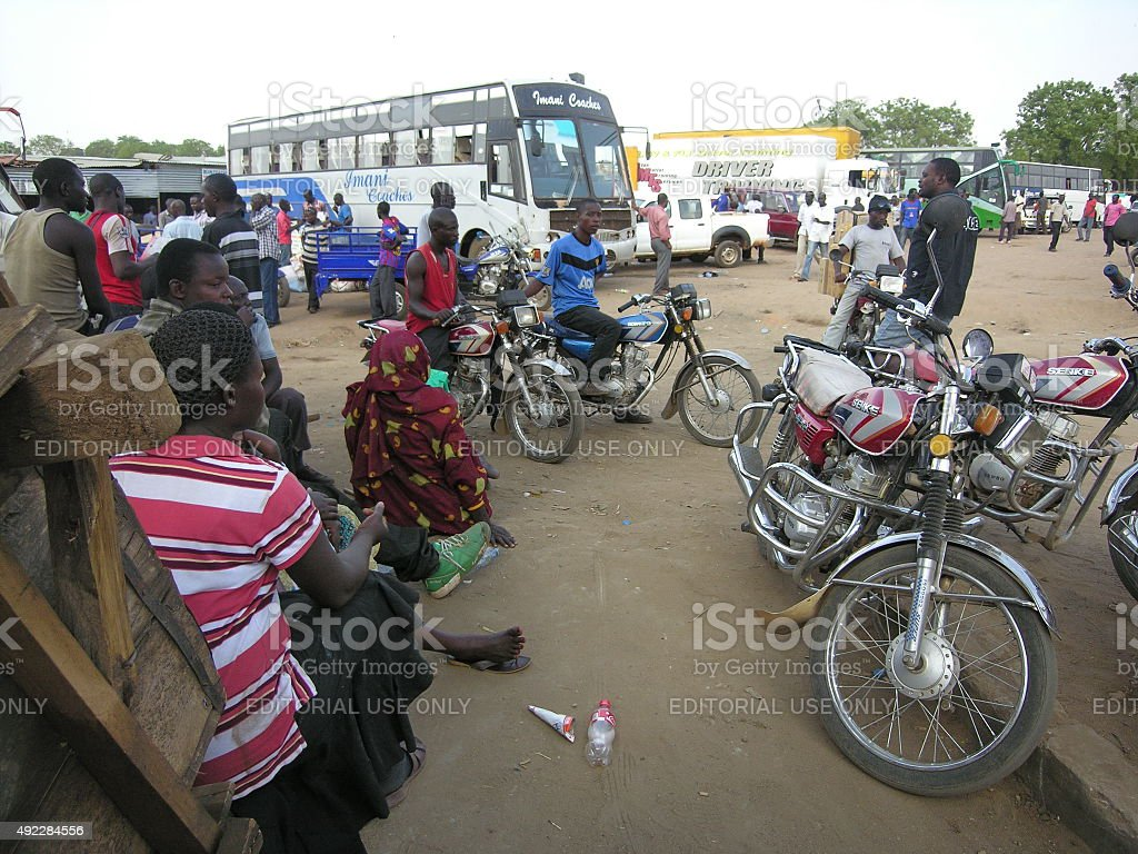 People at a bus station of Juba, South Sudan. stock photo