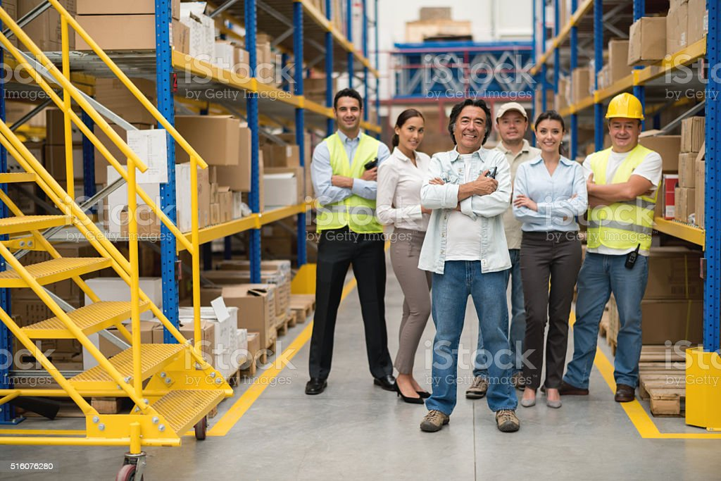 People at a distribution warehouse stock photo