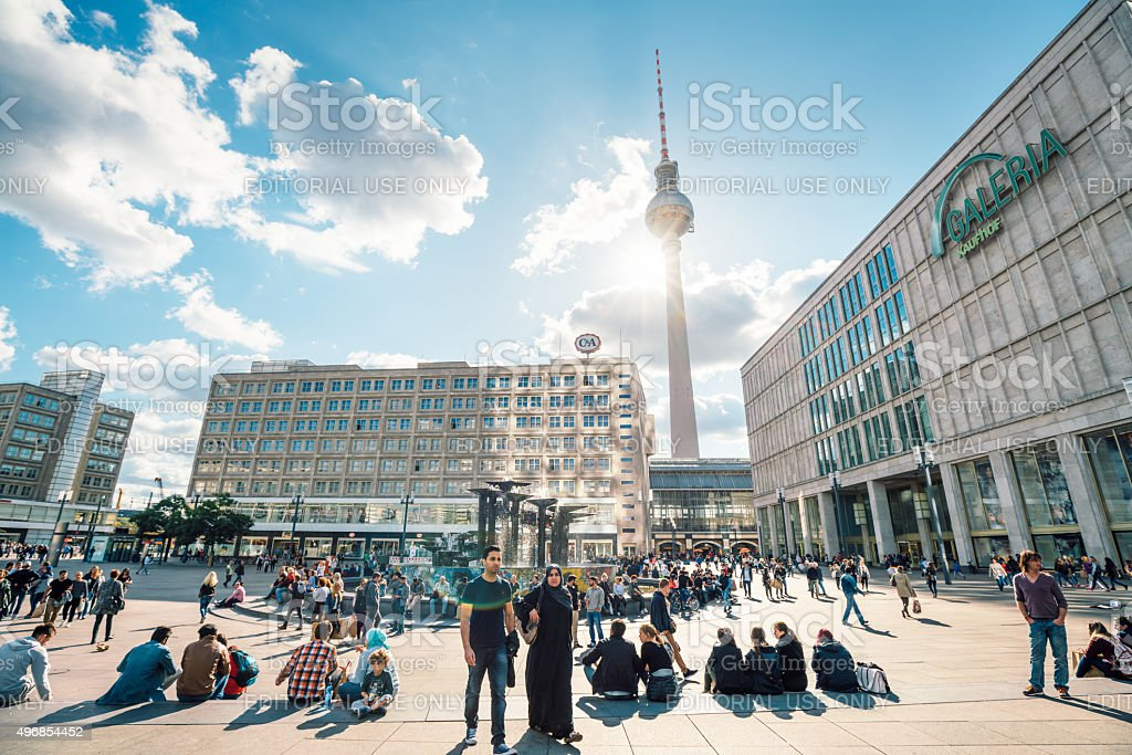 People at Alexanderplatz in central Berlin stock photo