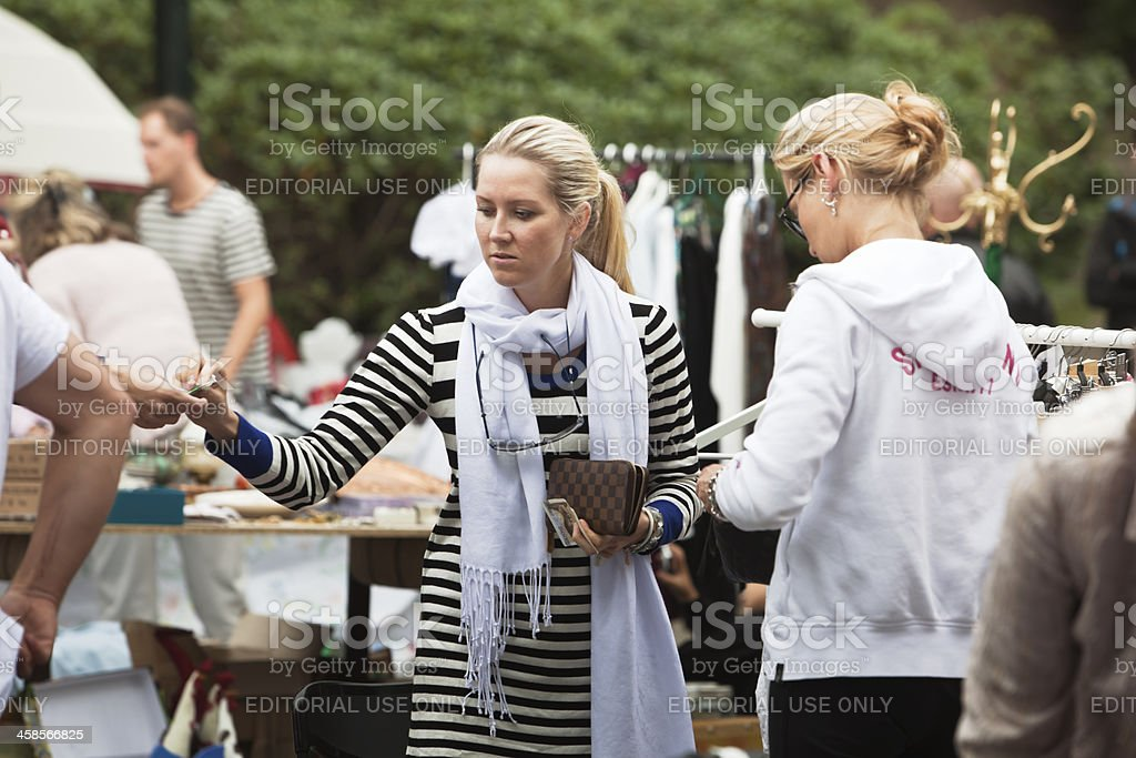 People at an outdoor market. royalty-free stock photo
