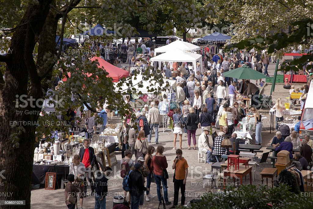 People at an outdoor  second hand market in Oslo. stock photo