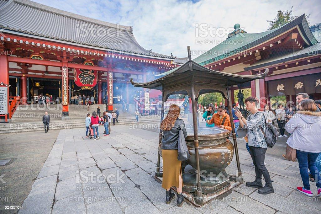 People at Asakusa shrine in Tokyo, Japan stock photo